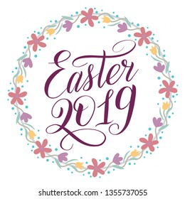Easter 2019 greeting card. Plum color script lettering and wreath with floral ornament. Flower decor, round frame, calligraphic cursive. Vector holiday illustration. Pastel and dusty colors.