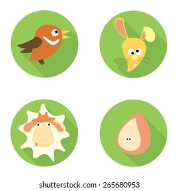 Easter Animals flat icon set