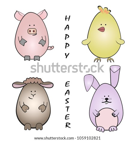 f3d36572645 Easter animals rabbit piglet chicken lamb stock vector royalty free jpg  450x470 Piglet easter