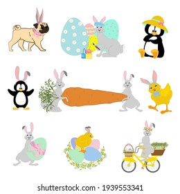 Easter animals set. Chick, rabbit, pug, penguin vector illustration on the white background.