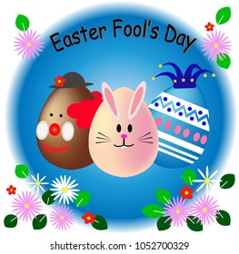 Easter and April fool's day eggs, Happy Easter fool's day, April 1, 2018