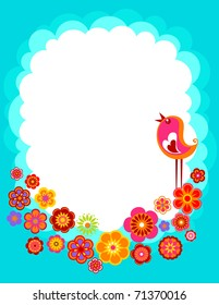 Easter background with with a bird and flowers