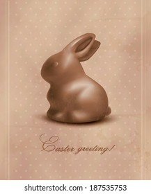 Easter background with a chocolate bunny. Vector.
