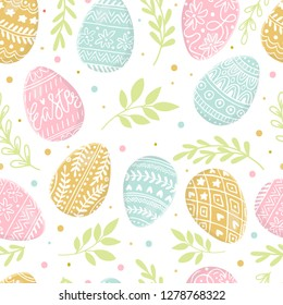 Easter background with colorful eggs hand drawn on white background. Decorative Easter eggs seamless pattern in colors. Easter eggs with ornaments
