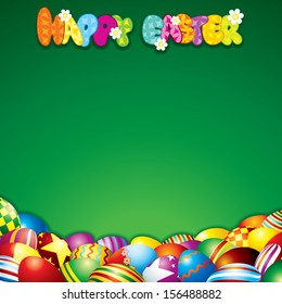 Easter Background with Colorful Painted Eggs. Vector Illustration