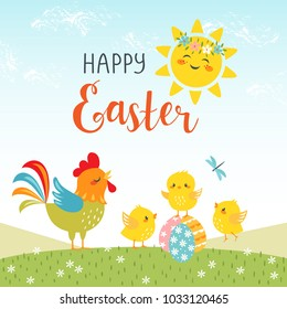Easter background of cute chicks with happy sun and hand drawn text.