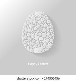 Пасхальный фон с украшенным цветочным иконом яйцом