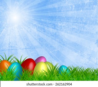 Easter background design, grunge skay texture with rays. Vector eps10.