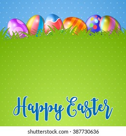 Easter background and egg in grass. several colorful eggs and in green grass, blue sky on background, vector illustration
