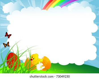 Easter background with eggs and chick
