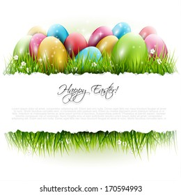 Easter background with eggs in grass and with copyspace