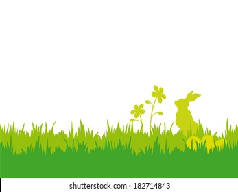 Easter background with flowers, bunny and eggs. Easter vector illustration with silhouettes of bunny, flowers, eggs and grass