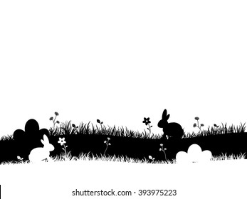 Easter background with flowers, bunny and eggs.Illustration with silhouettes of bunny, flowers, eggs black and white.