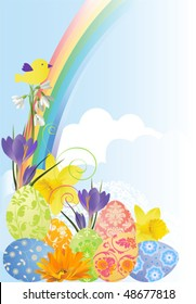 Easter background with flowers and eggs. Vector illustration scale to any size. All elements and textures are individual objects.