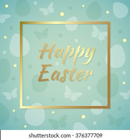 Easter background with greeting inscription in golden frame