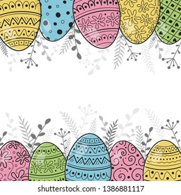 Easter background with hand drawn painted eggs. Vector