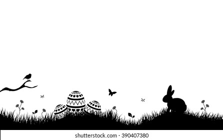 Easter Background with rabbit and easter eggs black
