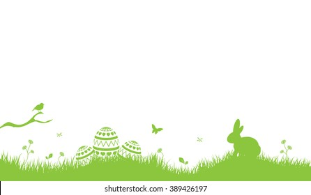 Easter Background with rabbit and easter eggs light green