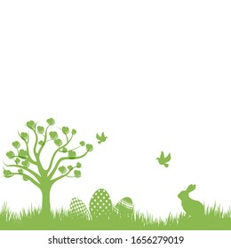 Easter Background with rabbit and easter eggs. Vector.
