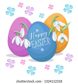 Easter background. Spring flowers. Colored eggs