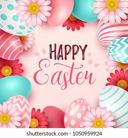 Easter background with spring flowers and eggs. Vector illustration