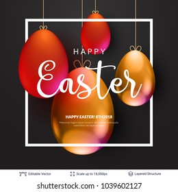 Easter background template. Colored eggs and copy space frame on black backdrop. Editable vector illustration.