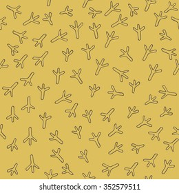 Easter background. Trace of birds, seamless vector pattern. Hand drawn chicken footprints in childish style. Chicken traces naive easter background.