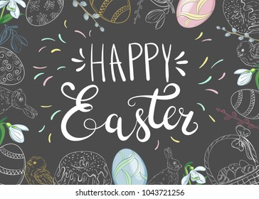 Easter background with traditional decorations. Easter greeting with colored eggs, festive cake, rabbit, etc.
