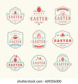 Easter badges and labels vector design elements set. Greeting card text templates and objects, eggs, bunny rabbits, flowers. Happy Easter typography messages vintage style.