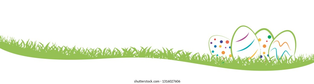 Easter banner, background with abstract eggs on grass in field, vector illustration