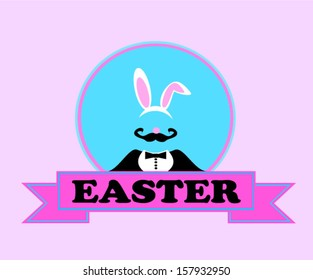 easter banner with man wearing bunny ears