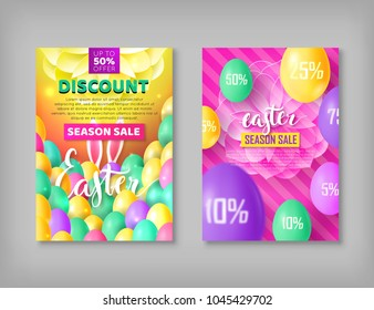 Easter banner set. Two flayers on festive theme with eggs, rabbit ears. Vector illustration of leaflets with discounts and sales
