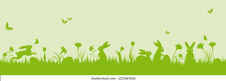 Easter banner. Vector illustration with easter bunnies, flowers, butterflies and eggs on a meadow.