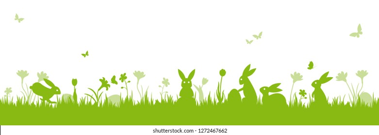 Easter banner. Vector illustration with easter bunnies, flowers, butterflies and eggs on a meadow. Isolated on white.