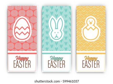 Easter Banners Set - Three colorful designs with patterns and easter holiday themed icons