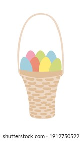 Easter basket with colored eggs. Hand drawn Easter greeting card. Wicker basket with coloured eggs.