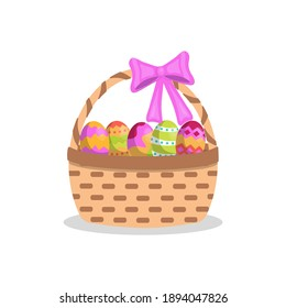 Easter basket with colored eggs . Isolated on white background. Stock vector illustration