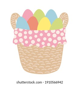 Easter basket with eggs and dotted napkin. Hand drawn Easter greeting card. Wicker basket with coloured eggs and napkin.