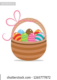 Easter basket with eggs, vector illustration.