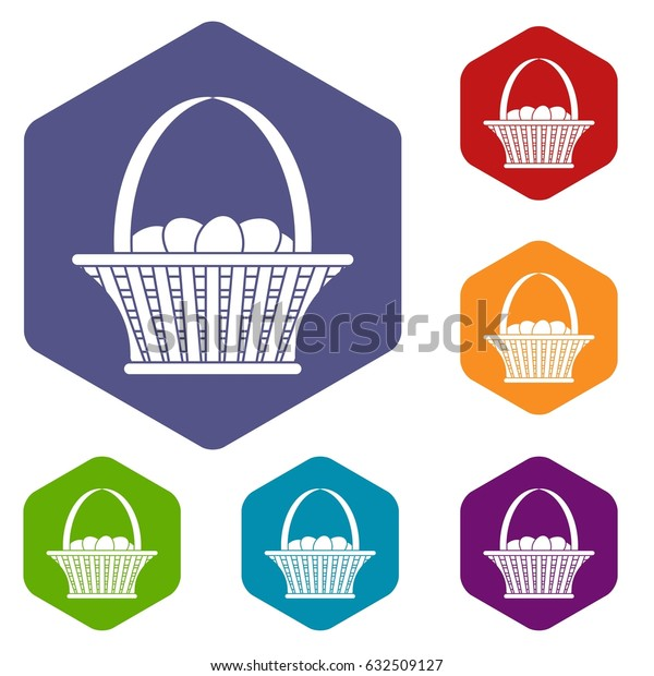 Easter basket icons set hexagon isolated vector illustration