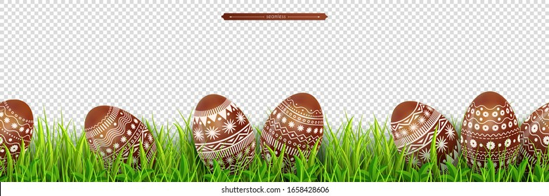 Easter border with chocolate Easter eggs hidden in green meadow grass Isolated on a transparent background. Decoration for festive design. Vector illustration