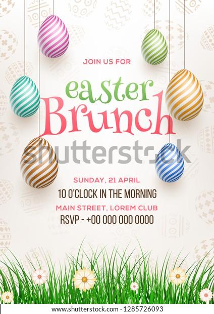 Easter Brunch Invitation Card Design Illustration Stock