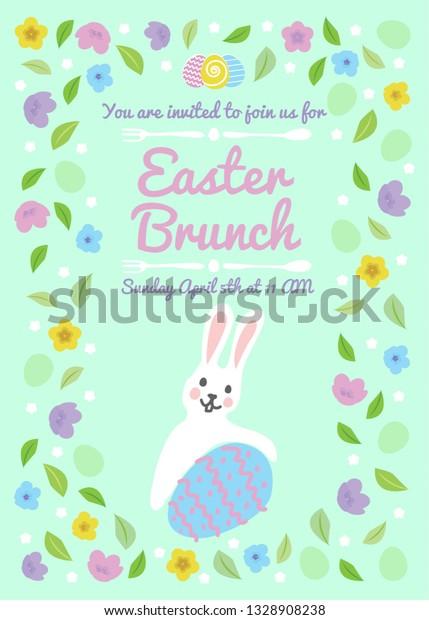 Easter Brunch Invitation Card Floral Frame Stock Vector