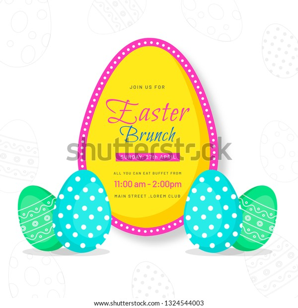 Easter Brunch Invitation Card Printed Easter Stock Vector