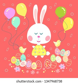 Easter bunni and easter eggs.Easter rubbit with easter eggs, chickens and balloons.Vector illustration.