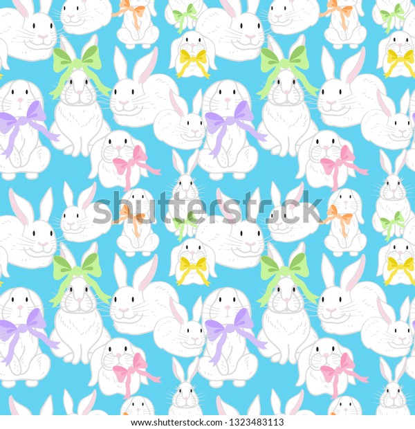 image about Happy Easter Printable identify Easter Bunnies Bows Seamless Behavior Joyful Inventory Vector