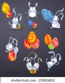 Easter bunnies with eggs in the form of balloons