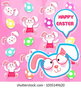 Easter bunnies and easter eggs. Vector illustration