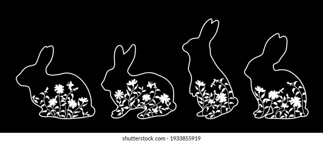 Easter bunnies with grass, flowers, butterfly. Rabbits silhouettes in profile Black and white. Vector illustration in linear style for banner or greeting card