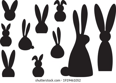 Easter bunnies silhouettes simple form. Clip art set on white background